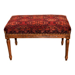 Louis XVI Style Bench Upholstered With a Late 19th Century Rug For Sale