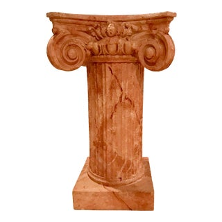 1990s Mid-Century Modern Faux Painted Ionic Pedestal For Sale