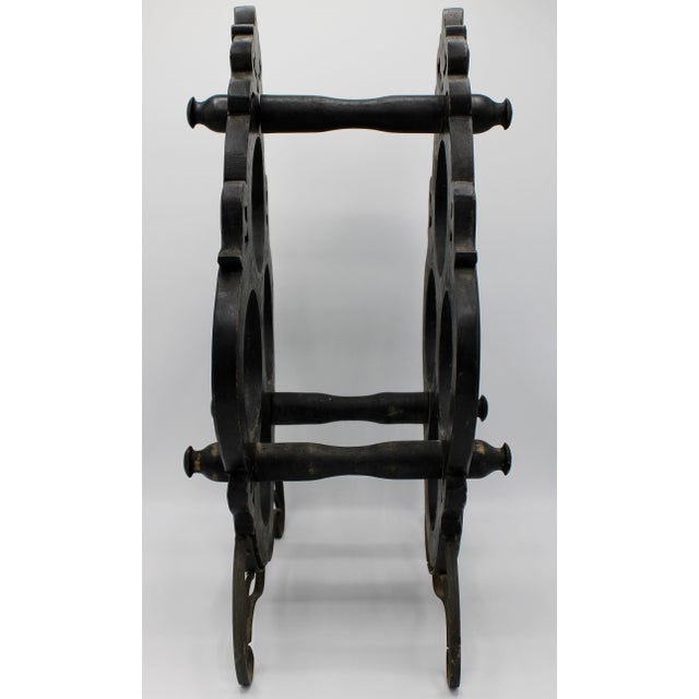 1960s Vintage French Black Oak Wine Rack For Sale - Image 4 of 7