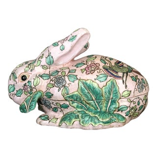 Mid 20th Century Mid 20th Century Famille Rose Pink and Green Cabbage Leaf Rabbit Tureen For Sale