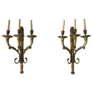 1900s American Classical Monumental Caldwell Bronze Doré Sconces - a Pair For Sale
