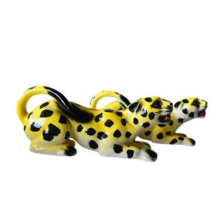 Mid-Century Modern Yellow Spotted Ceramic Leopards - A Pair