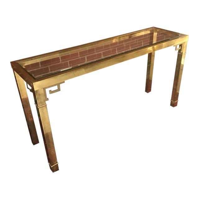Vintage Hollywood Regency Mastercraft Brass Greek Key Console Table For Sale