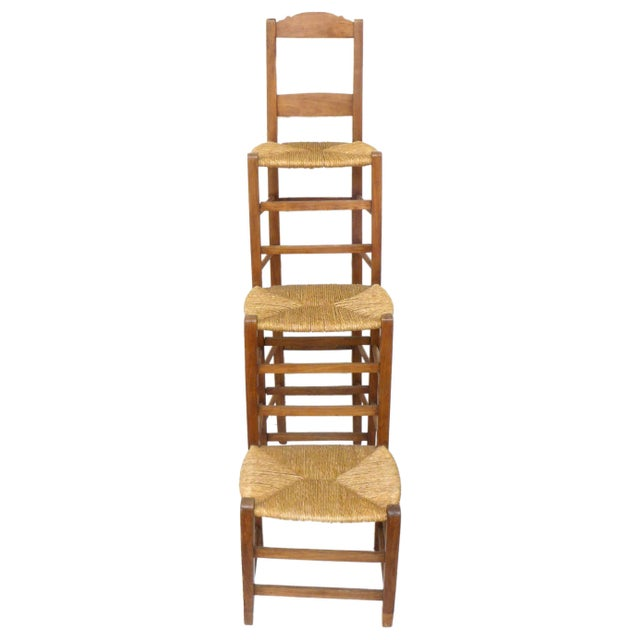 American Unusual Triple-Stepped Wood and Woven Rush Chair For Sale - Image 3 of 6