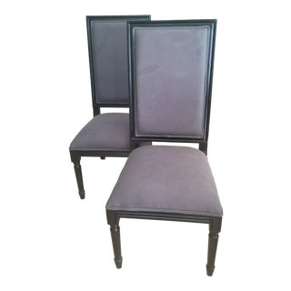 Gray Upholstered Back and Seat & Black Wooden Dining Chairs - a Pair For Sale