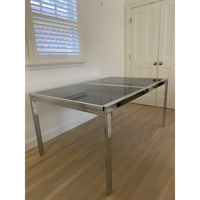 1970's Chrome and Smoked Glass Extension Dining Table by Milo Baughman For Sale In San Francisco - Image 6 of 13