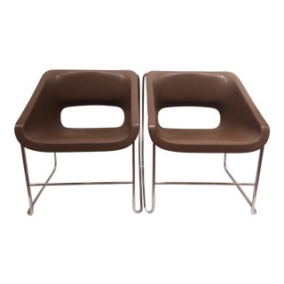 Brown Paul Boulva Chairs - A Pair For Sale