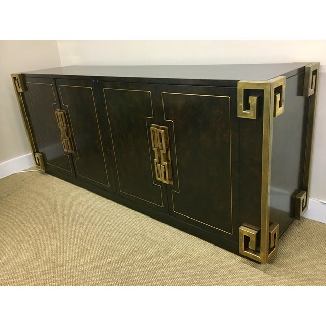 Bernhard Rohne Mastercraft Burled Carpathian Elm and Brass Buffet Server Bar For Sale - Image 10 of 10