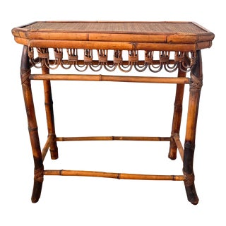 20th Century Chinoiserie Burnt Bamboo Console Table For Sale