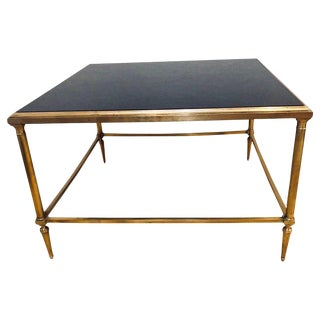 Hollywood Regency Maison Jansen Style Bronze Coffee Table With a Black Glass Top For Sale