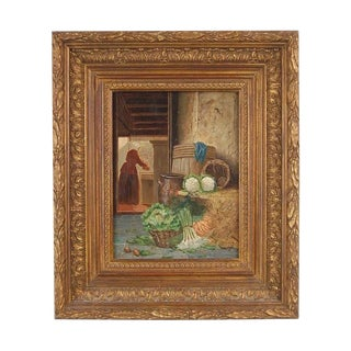 """Late 19th Century Vintage Dutch """"Kitchen Scullery Maid Prepping Vegetables"""" Painting by Johannes Engel Masurel For Sale"""