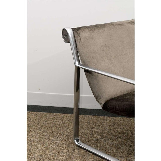 Rare Pair of Aluminum Lounge/Club Chairs by Hannah/Morrison for Knoll For Sale - Image 9 of 11