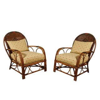 Pair of Art Deco Rattan and Wicker Arm Chairs For Sale