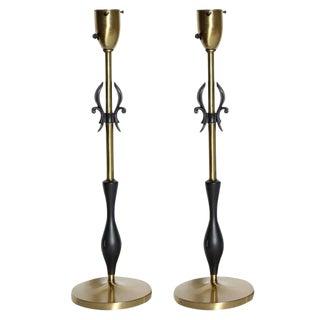 Rembrandt Lamp Co 1950s Brass & Black Fleur De Lis With Black Handled Lamps - a Pair For Sale