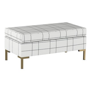 Pillowtop Bench With Y Legs in Line Tattersall Grey For Sale