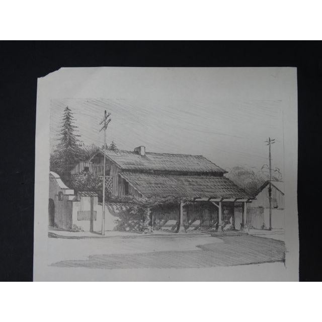 """Frederic Watts """"Old Adobe House With Porch"""" Lithograph - Image 2 of 3"""