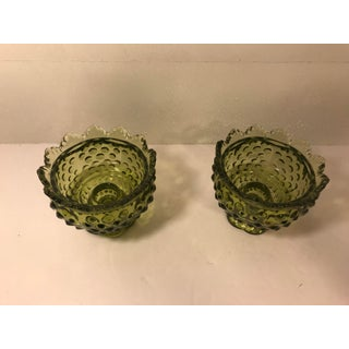 Ruffle Top Green Fenton Candle Holders - a Pair Preview