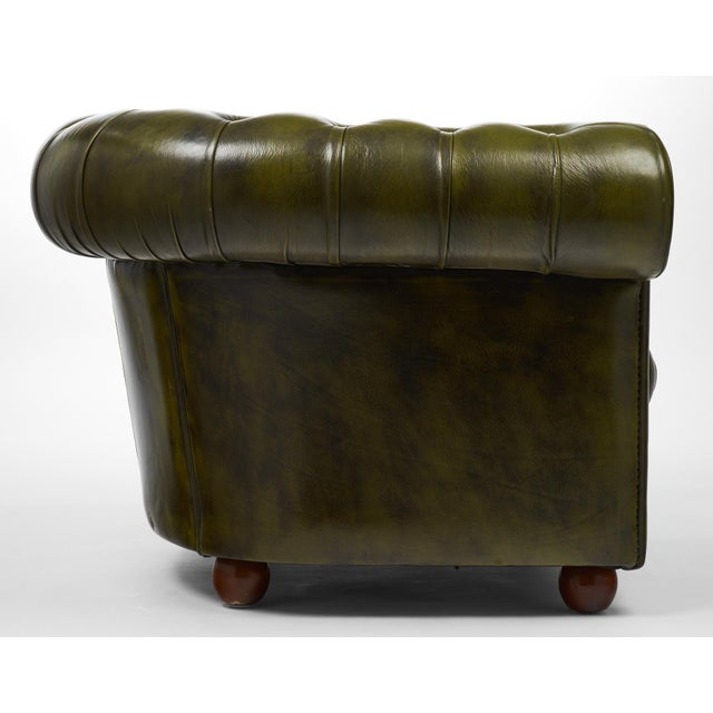 Vintage Chesterfield Green Leather Club Chair For Sale - Image 9 of 11