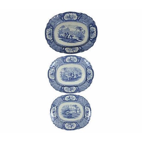 English Blue Transferware Platters - Set of 3 - Image 1 of 5