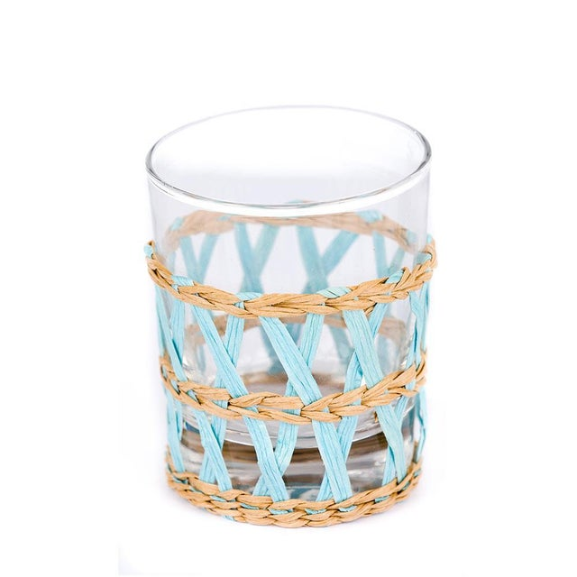 Light Blue Seagrass Wrapped Tumblers - Set of 4 - Image 2 of 3