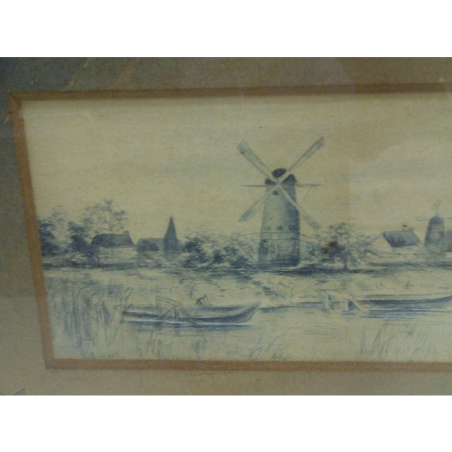 Circa 1890 The Windmill Drawing by Georgie Lacock For Sale - Image 4 of 6