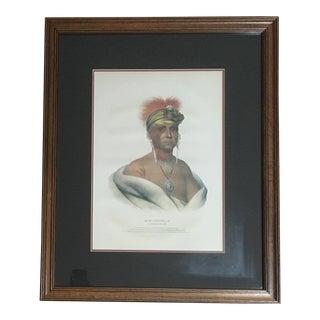 "Vintage McKenney & Hall ""Mon-Chonsia"" Native American Portrait Framed Print For Sale"