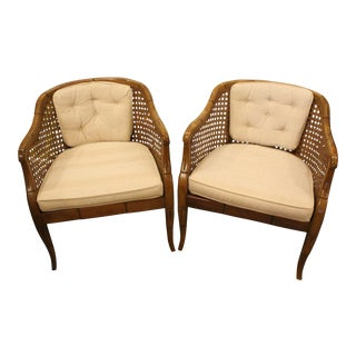 Vintage Mid Century Caned Arm Chairs- A Pair For Sale