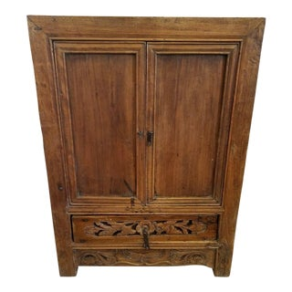 Antique Carved Chinese Cabinet For Sale