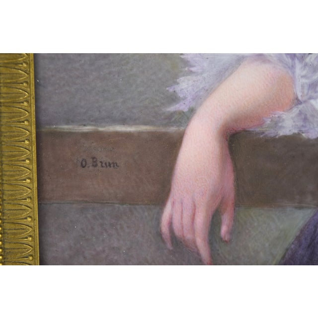 19th Century Antique O. Brun Elisabeth of France Continental Hand-Painted Porcelain Plaque For Sale In Chicago - Image 6 of 10