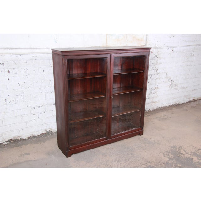 Antique Mahogany Glass Front Double Bookcase, Circa 1900 For Sale - Image 4 of 12