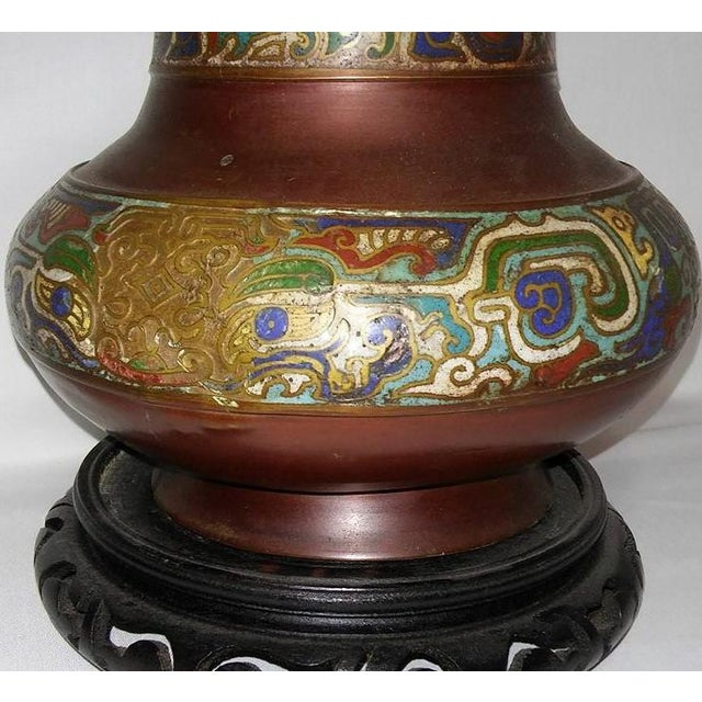 Champleve Enamel Vase With Dolphin Handles For Sale - Image 4 of 6