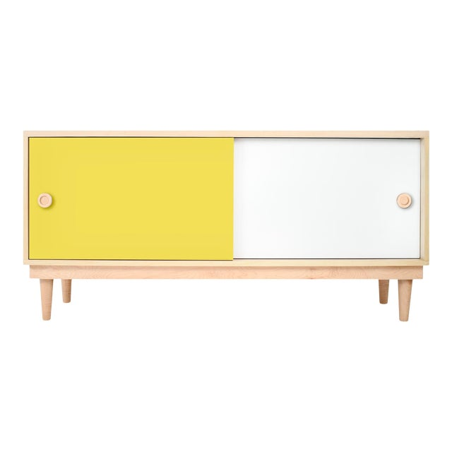 Nico & Yeye Luke Modern Kids Credenza Console Solid Maple and Maple Veneers Yellow For Sale