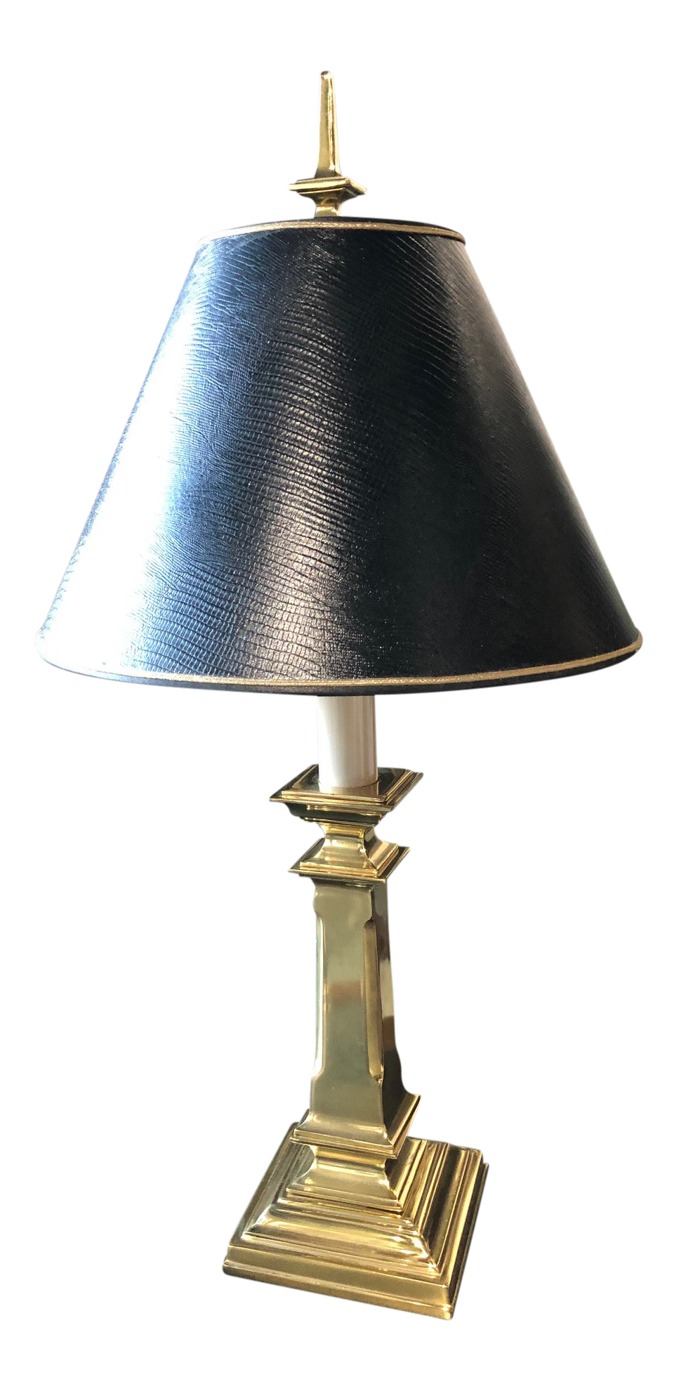 1960s Vintage Stiffel Brass Table Lamp Textured Black Shade Chairish