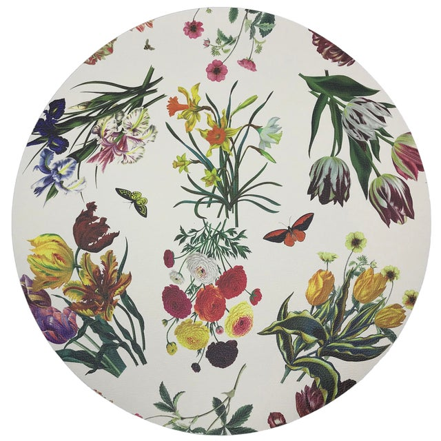 "Nicolette Mayer Flora Fauna White 16"" Round Pebble Placemat For Sale"