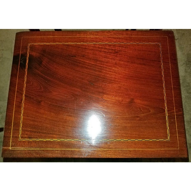 Early 20c British Mahogany and Inlaid Nest of Tables For Sale - Image 10 of 13