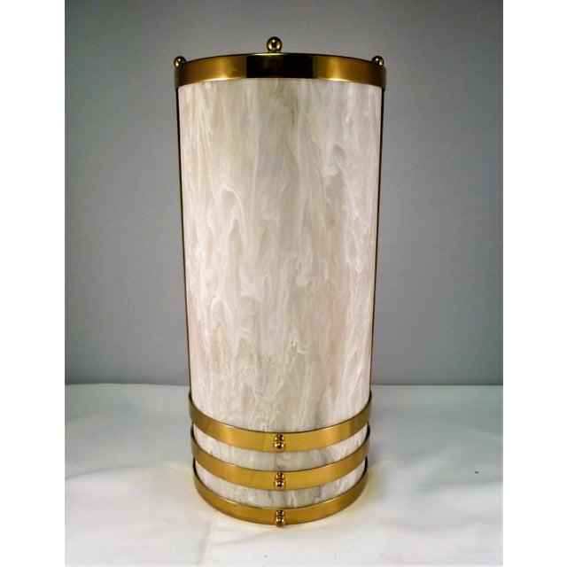 Alabaster 1990s Baldinger Architectural Lighting Half Cylinder Sconce For Sale - Image 8 of 8