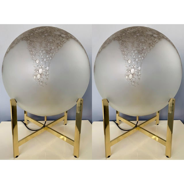 Pair of Glass and Brass Lamps by La Murrina Murano. Italy, 1990s For Sale - Image 13 of 13
