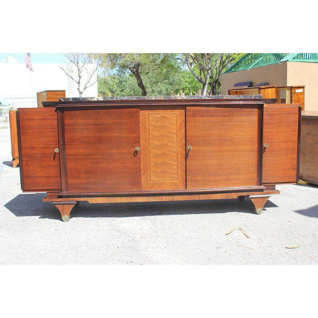 1940s Art Deco Exotic Macassar Ebony Marble Top Sideboard For Sale - Image 11 of 12