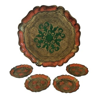 Vintage Italian Florentine Tray and Coasters - Set of 5 For Sale