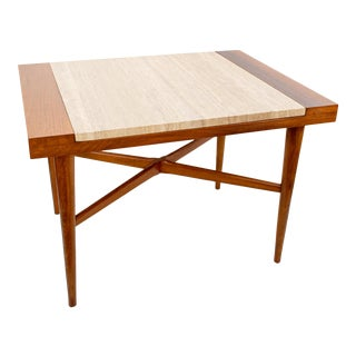 Mid Century Harvey Probber Style Wood and Italian Travertine Side Table For Sale
