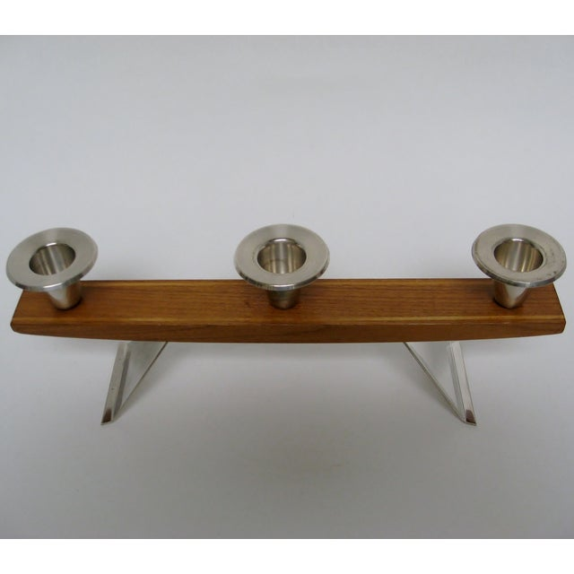 Mid-Century Modern Vintage Wood & Silverplate Candleholder For Sale - Image 3 of 6