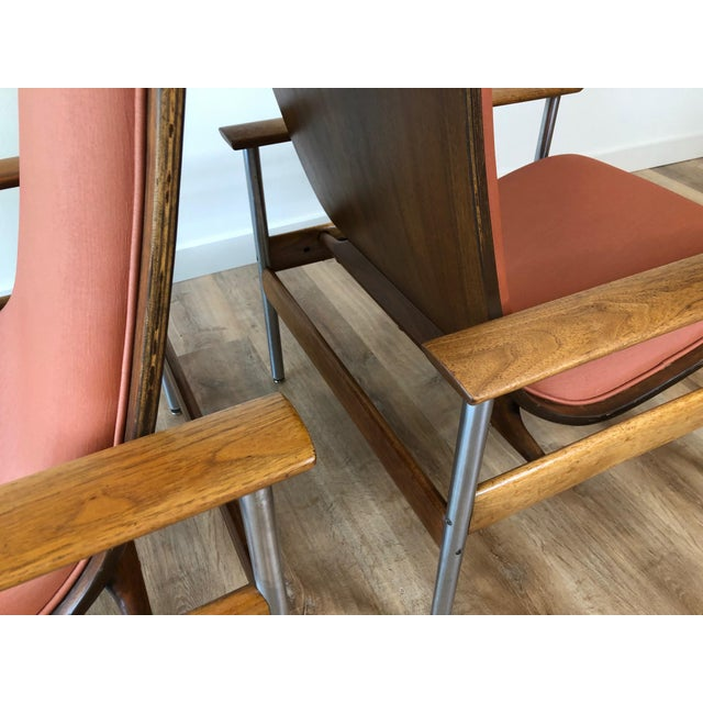 Peach Vintage Sven Ivar Dysthe Norwegian Armchairs With New Upholstery - a Pair For Sale - Image 8 of 9