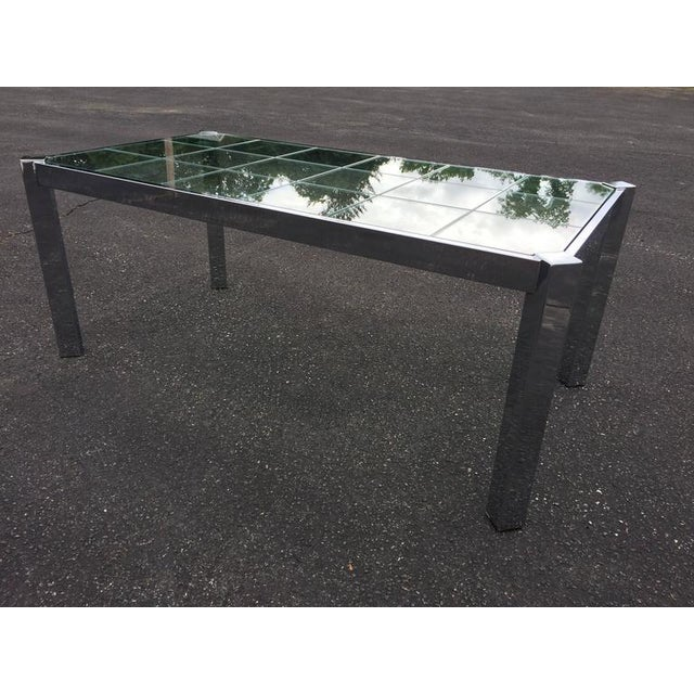 Hollywood Regency Design Institute of America Chrome & Glass Dining Table For Sale - Image 3 of 11