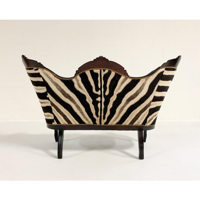 Aesthetic Movement Antique Settee in Zebra Hide For Sale - Image 3 of 9