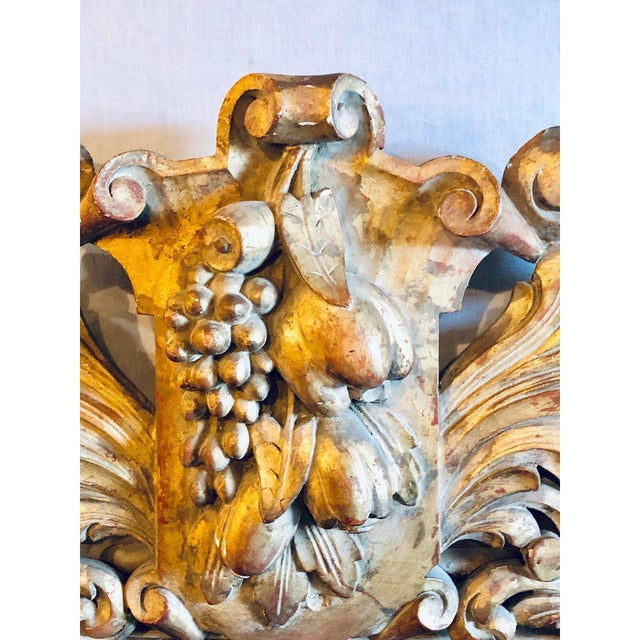 Large Carved Rococo Wall / Console Mirror W. Grape and Scroll Design For Sale - Image 9 of 12