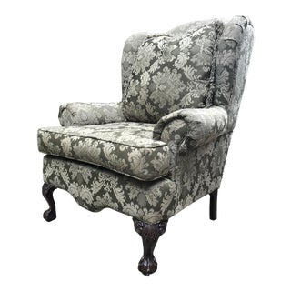 Mid-20th Century English Traditional Stately Wing Chair With Claw Feet For Sale