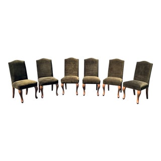 Contemporary Velvet Armless Dining Chair Set- 6 Pieces For Sale