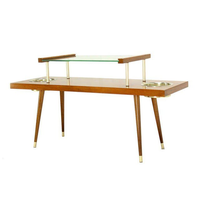 Mid-Century Modern Mid-Century Modern Walnut and Glass-Top Console Table With Planters For Sale - Image 3 of 10