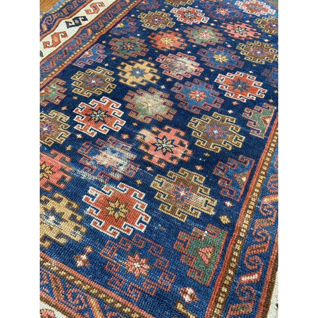 "Boho Chic Vintage Cobalt Blue Hand Knotted Geometric Rug- 34""x 47"" For Sale - Image 3 of 7"