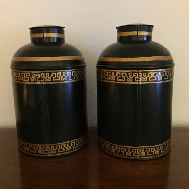 Black English Tole Tea Canisters - A Pair - Image 5 of 8